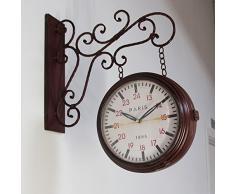 Walplus 2O-XKG9-7PVH - Reloj de pared de hierro, dos caras
