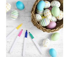 Weego 30 x Huevos de Pascua Decorados, Huevos de Plástico para Colgar con Cuerda, Manualidades de Bricolaje de Pascua Que Pintan para La Decoración y El Regalo, con 8 Pinceles