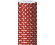 Clairefontaine Alliance - Rollo de papel para regalo, 50 x 0,7 m, diseño de árboles de Navidad, color blanco, beige, gris y rojo