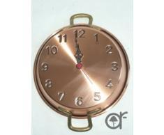 Reloj grande de sartén de cobre rústico con asas latón 23 cm
