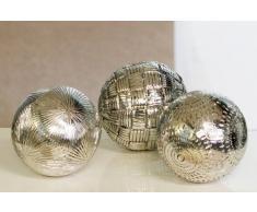 Bola decorativa Decoración bola Carve Antiguo Plateado Juego de 3 – Bolas bolas