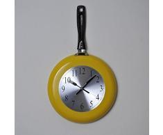 Kitchen reloj de pared sartén 43 x 26 cm), color amarillo, gris y negro