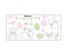De conejo de Pascua, huevos, diseño de flores de pegatinas para Windows/cristal/pantallas