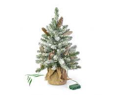 artplants.de Mini árbol de Navidad Artificial Viena, LED, Saco de Yute, nevado, 60cm, Ø 40cm - árbol sintético - Planta Artificial