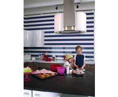 Papel pintado Rayas azules blancas Modelo Horisont Azul 305-03 Marinero, Rayas, Horizontales,