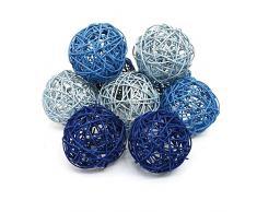 Surtido de bolas de ratán color azul 10 cm – juego de 9 bolas de ratán/TOP precio.