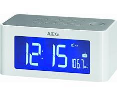 AEG MRC 4110 I - Radio despertador con altavoz por inducción, color blanco