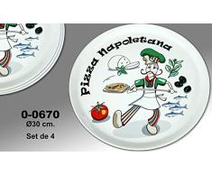 "Supernova Decoracion-Set 4 platos para pizza decorados con dibujos de colores y palabra ""PIZZA NAPOLETANA"" . Medidas 30 cm"