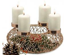 Edzard ed7902 decorativa Decoración corona de Adviento corona de Adviento candelabro kupferfarbig aprox. 34 cm de diámetro