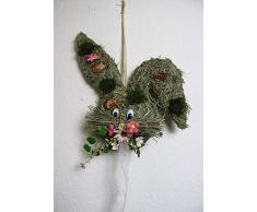 Corona de puerta redonda con 2 conejos Diámetro 28 Cm – Pascua – Primavera – Bienvenida de felicitación