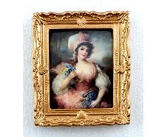 Accesorio Miniatura Casa De Muñecas Mujer en rosa Cuadro cuadro Marco Dorado