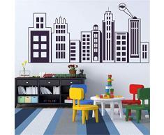 Edificios calcomanías de Pared para la habitación de los niños extraíble Arte Mural Nursery Decor Vinilo Edificio Silueta Pegatinas de Pared 57 * 28 CM