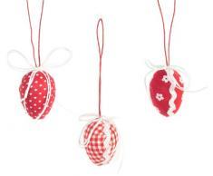 Brauns-Heitmann 60581 - Adornos en forma de huevos de Pascua (5 cm, 9 unidades), color rojo y blanco