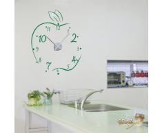 Vinilo de pared: Decoración de pared con reloj manzana Para la cocina (reloj=Plata cepillada//Color=063 Verde pálido)