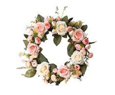 Forart 18 pulgadas Rose Flower Wreath - Corona de puerta de flores con hojas verdes Corona de primavera