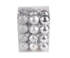Bola de adorno,Longra 24 piezas Xmas bolas brillas elegantes de adorno de decoracion de arbol chucherias de Navidad (plata)
