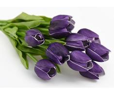 FiveSeasonStuff 10 Piezas de Toque Realista Tulipanes Artificial Calidad Ramo de Flores, Perfecto para la Boda, Nupcial, Partido, Hogar, Oficina de la Decoración de DIY (Púrpura)