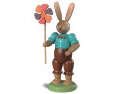 Conejo de Pascua señor conejo con molinete, 11 cm. de alto, colorido, original de los Montes Metálicos (Erzgebirge) hecho por la empresa Müller del pueblo de Seiffen