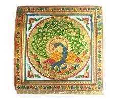 Bandeja, plato decorativo, hermosa caja de merienda Meenakari EB_Figur_050_US con único