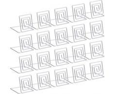 REFURBISHHOUSE 20 Piezas Portatarjetas de Lugar de Alambre Soporte de Tarjeta de Metal Soporte Nombre de la Boda Place Place para Bodas, Cenas, Carteles de Comida Plateados