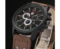 Relojes Hombre,Xinan Bolso de Cuero del Deporte de la Correa Reloj Cuarzo Ejército (Café)
