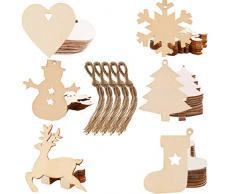 Liuer Rodajas de Madera,60PCS Discos de Madera Rebanada Naturales Perforado Con Corteza de Árbol Para Manualidades Pintar Diy Artesanías Decoraciones Navidad Hogar Adornos
