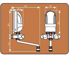 Calentador de agua de lavado con agua caliente de la caldera eléctrica instantánea mano 3,7kw blanco boquilla plástica