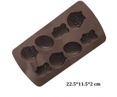 8 Pascua Conejito Huevos Moldes de la Torta 3D Ice Cube Bandejas de Chocolate Jalea Del Caramelo Tarta Moldes - Color Al Azar