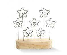 Soporte para tarjetas navideñas de estrellas - marco para fotos de madera - Clips para notas - Capacidad para 7 tarjetas