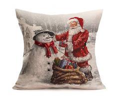 Fundas Cojines de Navidad, Patrón de Papá Noel Funda de Cojines 45x45 Navidad Decoracion para Hogar Casa Sofa Jardin Cama (01)
