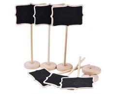 Crazy Gulär Mini pizarra pizarra pizarra Wordpad tablero de mensajes soporte de madera para fiestas/mesa de boda número lugar tarjeta decoración Set de 10