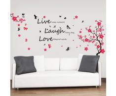 Walplus - Pegatinas decorativas para pared (texto en inglés), diseño de flores y mariposas