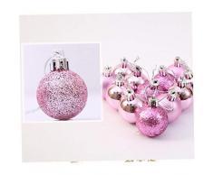 Kacniohen 1 Caja (24pcs) Uso de múltiples Bolas de Navidad con Cadena Práctica Bola plástica inastillable Adornos del árbol de Navidad Bolas de Color Rosa