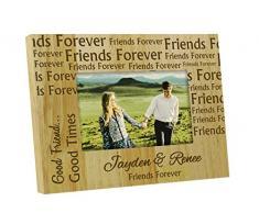 Amigos para siempre personalizados marco grabado de madera Cuadro Con Nombres - 4 x 6 pulgadas Horizontal regalo del día de la amistad