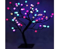 DECORACIÓN NAVIDAD - Árbol de bolas iluminado con 48 LED de diferentes colores - Altura 45 cm