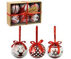 Juego de 6 adornos navideños de lujo Decoración tradicional de árbol Bolas festivas temáticas de Navidad (adornos rojos metálicos)