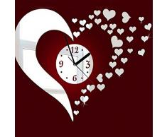 Bluelover Corazón 3D DIY espejo decoración reloj de pared salón