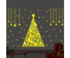 Navidad decoración pegatinas de pared árbol de Navidad Magic brilla en la oscuridad con alfabeto pared murales adhesivos salón niños guardería escuela restaurante Cafe Hotel casa decoración