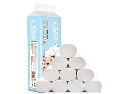 Fanville 12 Rollos de Papel higiénico doméstico 5 Capas Toallas de Papel sin núcleo Suave para la Piel del baño, pañuelos domésticos de Papel de Cocina