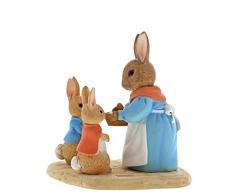 Beatrix Potter A29193 - Figura Decorativa de Conejo de la Sra. Flopsy and Peter (Resina, 4 x 7 x 7 cm), Resina, Colorido., 5X 7 x 7 cm