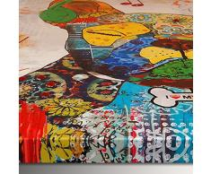 Arte Dal mondo AS362X1 de acrílico en forma de perro de la pintura de la lona de decorado a mano