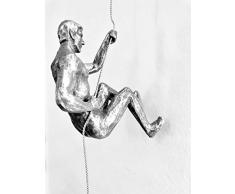 Haute Collage 3X Trío de Rappel de Escalada de Plata Antiguo Grande Adornos Colgantes Figuras Conjunto de 3 Hombres de Escalada Escultura Arte Resina y Metal Bungee Jumping