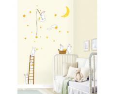 Ambiance-Live - Vinilo adhesivo decorativo para pared , Conejos y estrellas