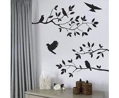 iTemer Vinilos decorativos pared dormitorio Stickers Decoracion pared Pegatinas pared decorativas Un hermoso regalo PVC Bosque Rama Birdie 1 set