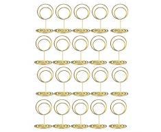 ACAMPTAR Portatarjetas de Lugar de 20 Piezas, Sostenedores de NúMeros de Mesa Lindos de 2 Pulgadas, Soportes de Imagen de Mesa con Soporte Tarjeta con Clase, Idea para Boda (Oro)
