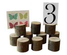 Gosear 10 piezas Tocón de Madera Forma Portatarjetas del Lugar de Número Nombre / Menú de Tabla / Clip de Foto Imagen - Soporte de Tarjeta para Recepción Fiesta de Boda