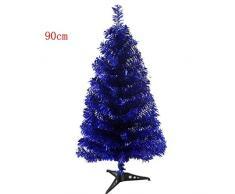 Fouriding Árbol de Navidad Pino Abeto Artificial con el Pie Plástico para Decoración del Partido 90cm Azul Oscuro
