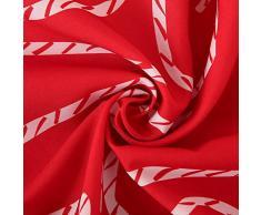 Deconovo Mantel Mesa Rectangular Mantel de Navidad Decoración Dibujo Bastón 130 x 220 cm Rojo
