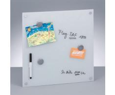 Zeller Present - Tablero de notas magnético de cristal (40 x 40 cm), color blanco