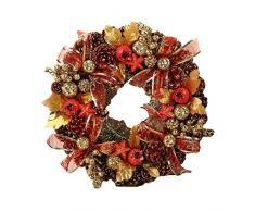 Corona de Navidad Hecha a Mano Artificial Garland Puerta Decoración Artículos de Fiesta Año Nuevo Centro Comercial Ventana Corona de Adviento Guirnalda (Color : White)
